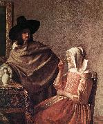 VERMEER VAN DELFT, Jan A Lady Drinking and a Gentleman (detail) ar oil painting picture wholesale