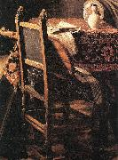 VERMEER VAN DELFT, Jan A Lady Drinking and a Gentleman (detail) ar Spain oil painting reproduction