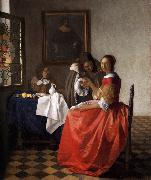 VERMEER VAN DELFT, Jan A Lady and Two Gentlemen t oil painting picture wholesale
