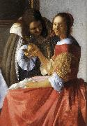 VERMEER VAN DELFT, Jan A Lady and Two Gentlemen (detail) ewt oil painting picture wholesale