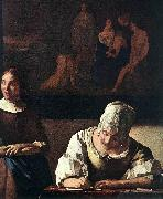 VERMEER VAN DELFT, Jan Lady Writing a Letter with Her Maid (detail) set oil painting picture wholesale