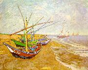 Vincent Van Gogh Fishing Boats on the Beach at Saintes-Maries oil painting picture wholesale
