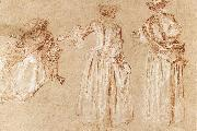 WATTEAU, Antoine Three Studies of a Lady with a Hat oil painting artist