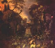 WITHOOS, Mathias Landscape with a Graveyard by Night oil painting artist