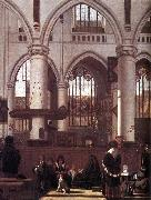 WITTE, Emanuel de The Interior of the Oude Kerk, Amsterdam, during a Sermon oil painting picture wholesale