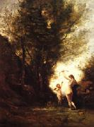 camille corot A Nymph Playing with Cupid(Salon of 1857) oil painting artist