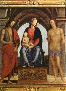 PERUGINO, Pietro Madonna Enthroned between St. John and St. Sebastian (detail) AF oil painting picture wholesale