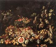 RECCO, Giuseppe Still-Life with Fruit and Flowers oil painting artist