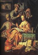 REMBRANDT Harmenszoon van Rijn The Music Party  dhd oil painting picture wholesale