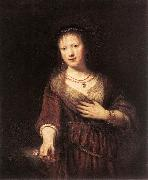 REMBRANDT Harmenszoon van Rijn Portrait of Saskia with a Flower Spain oil painting reproduction