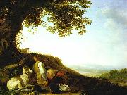 SAFTLEVEN, Cornelis Hunter Sleeping on a Hillside sg oil painting artist