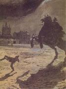 Alexander Benois The Bronze hoseman oil painting