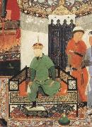 Bihzad Timur enthroned and holding the white kerchief of rule oil painting artist
