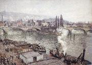 Camille Pissarro The Stone Bridge in Rouen,dull weather oil painting picture wholesale