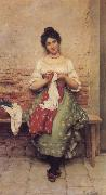 Eugene de Blaas THe Seamstress oil painting artist