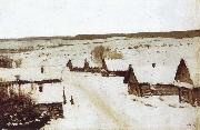 Isaac Levitan Village,Winter oil painting picture wholesale