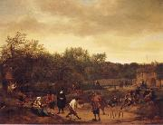 Jan Steen Landscape with skittle playes oil painting picture wholesale