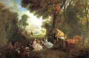 Jean-Antoine Watteau The Halt During the Chase oil painting picture wholesale