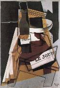 Juan Gris Winebottle Daily and fruit dish oil painting picture wholesale