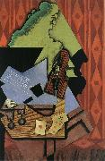 Juan Gris The Fiddle and playing card on the table oil painting picture wholesale