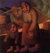 Kasimir Malevich The Woman and child Pick up the water pail oil painting picture wholesale