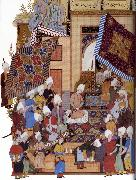 Shaykh Muhammad Joseph,Haloed in his tajalli,at his wedding feast oil painting artist