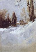 Valentin Serov Winter in Abramtsevo-A House oil painting picture wholesale