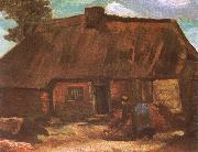 Vincent Van Gogh Cottage with Peasant Woman Digging (nn04) oil painting picture wholesale