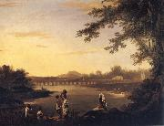 unknow artist A View of Marmalong Bridge with a Sepoy and Natives in the Foreground oil painting picture wholesale