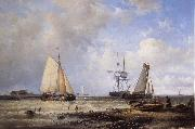 Abraham Hulk Fisherfolk and Ships by the Coast oil painting reproduction