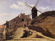 Corot Camille The Moulin of the Calette in Montmartre oil