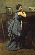 Corot Camille The lady of blue oil