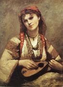 Corot Camille Christine Nilson or Bohemia with Mandolin oil