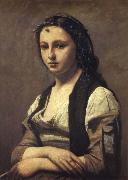 Corot Camille The woman of the pearl oil