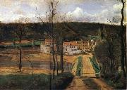 Corot Camille The houses of cabassud oil