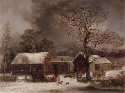 George Henry Durrie Winter Scene in New Haven,Connecticut oil painting picture wholesale