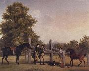 George Stubbs The Third Duke of Portand and his Brother,Lord Edward Bentinck,with Two Horses at a Leaping Bar oil painting picture wholesale
