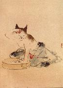 Hiroshige, Ando Cat Bathing oil painting artist