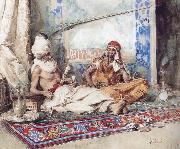 Attilio Simonetti Arabs in an interior oil painting