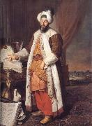 Aved, Jacques-Andre-Joseph Portrait of the Pasha Mehmed Said,Bey of Rovurelia,Ambassador of Sultan Mahmud i at Versailles oil painting artist