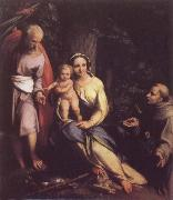 Correggio Rest on the Flight to Egypt with Saint Francis oil painting picture wholesale