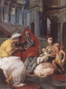 Francesco Primaticcio The Holy family with St.Elisabeth and St.John t he Baptist oil painting artist