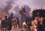 Johannes Adam  Oertel Pulling Down the Statue of King George III oil painting picture wholesale