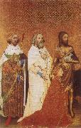unknow artist The Wilton Diptych,Richard ii presented to the Virgin and Child by his patron Saint John the Baptist and Saints Edward and Edmund oil painting picture wholesale