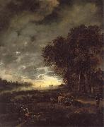 Aert van der Neer A Landscape with a River at Evening oil painting picture wholesale