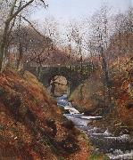 Atkinson Grimshaw Ghyll Beck Barden Yorkshire Early Spring Spain oil painting artist
