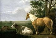 CALRAET, Abraham van A Horse and Cows in a Landscape oil painting artist