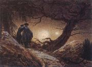 Caspar David Friedrich Two Men Looking at the Moon oil painting picture wholesale