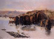 Charles M Russell The Buffalo Herd oil painting picture wholesale