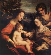 Correggio The marriage mistico of Holy Catalina with San Sebastian oil painting picture wholesale